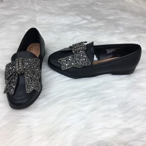 A New Day Black Loafers with decorative bow